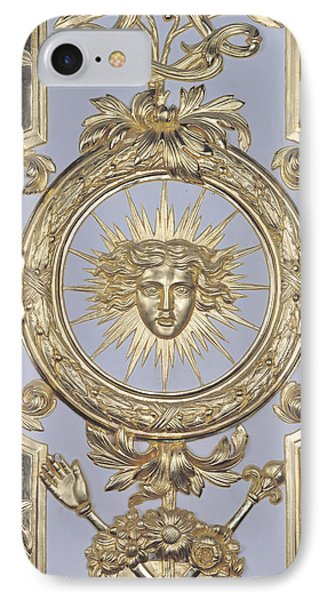 Detail Of Panelling Depicting The Emblem Of Louis Xiv From Versailles IPhone Case