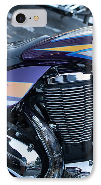 IPhone Case featuring the photograph Detail Of Shiny Chrome Cylinder And Engine On Cruiser Motorcycle by Jason Rosette