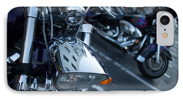 IPhone Case featuring the photograph Detail Of Shiny Chrome Headlight On Cruiser Style Motorcycle by Jason Rosette