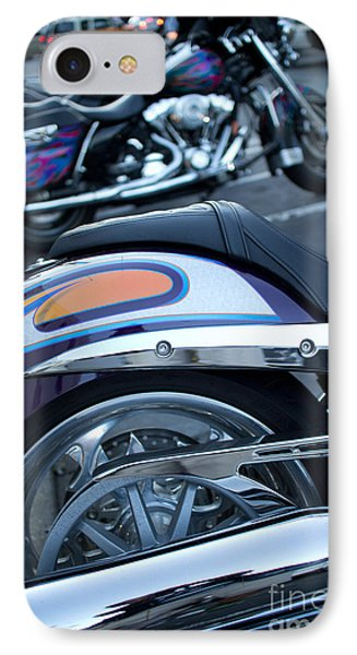 IPhone Case featuring the photograph Detail Of Shiny Chrome Tailpipe And Rear Wheel Of Cruiser Style  by Jason Rosette
