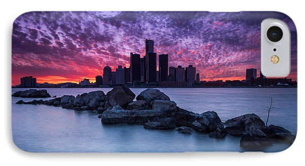 Detroit Skyline Clouds IPhone Case by Cale Best