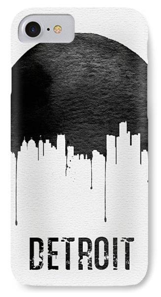 Detroit Skyline White IPhone Case by Naxart Studio