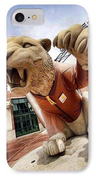 Detroit Tigers Tiger Statue Outside Of Comerica Park Detroit Michigan Phone Case by Gordon Dean II