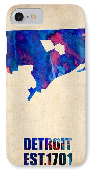 Detroit Watercolor Map IPhone Case by Naxart Studio