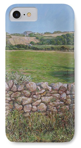 IPhone Case featuring the painting Devon Field And Drystone Wall by Martin Davey