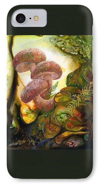 Dew Drop Mushrooms Phone Case by Sherry Shipley