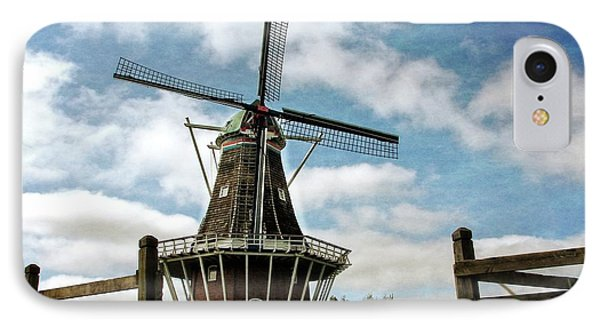 IPhone Case featuring the photograph Dezwaan Windmill With Fence And Clouds by Michelle Calkins