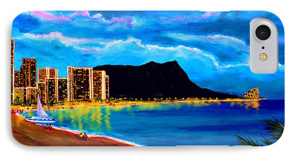 Diamond Head And Waikiki Beach By Night #92 Phone Case by Donald k Hall