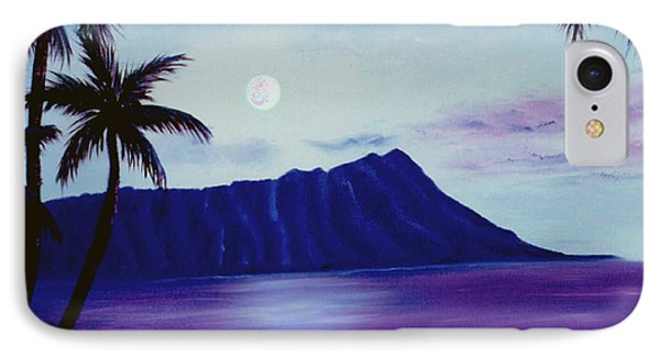 Diamond Head Moon Waikiki #34 Phone Case by Donald k Hall