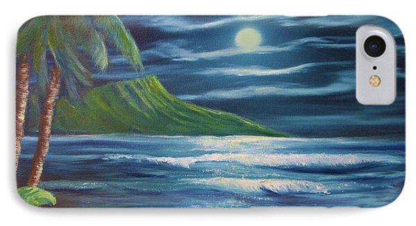 Diamond Head Moon Waikiki Beach  #409 Phone Case by Donald k Hall