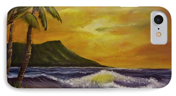 Diamond Head Sunrise Oahu #414 Phone Case by Donald k Hall