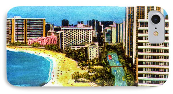 Diamond Head Waikiki Beach Kalakaua Avenue #94 Phone Case by Donald k Hall