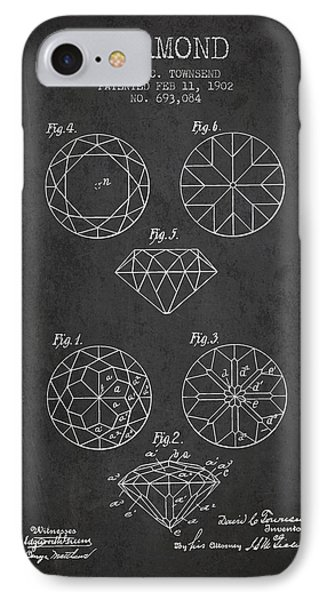 Diamond Patent From 1902 - Charcoal IPhone Case by Aged Pixel