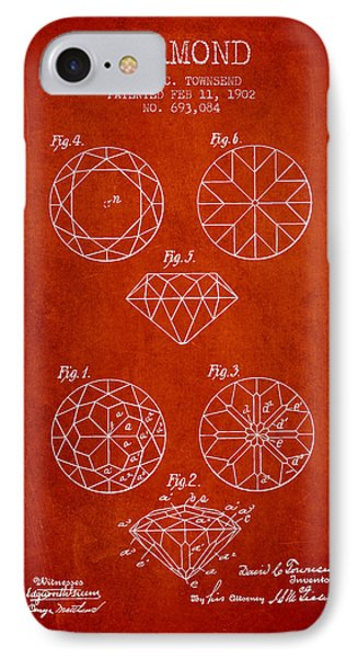 Diamond Patent From 1902 - Red IPhone Case by Aged Pixel