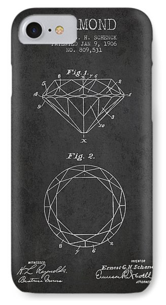 Diamond Patent From 1906 - Charcoal IPhone Case by Aged Pixel