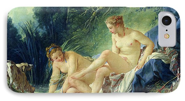 Diana Getting Out Of Her Bath IPhone Case by Francois Boucher