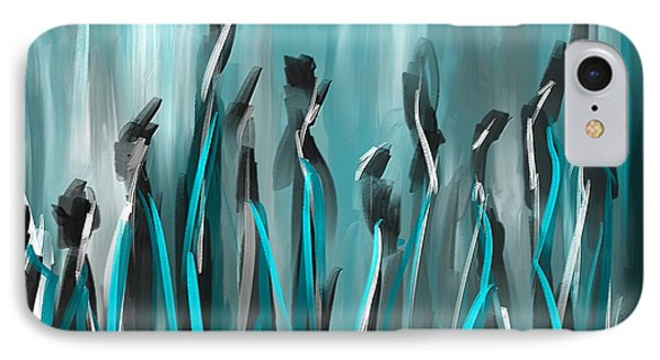 Differences - Turquoise Gray And Black Art IPhone Case by Lourry Legarde