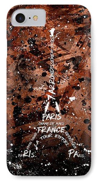 Digital Art Eiffel Tower - Brown IPhone Case