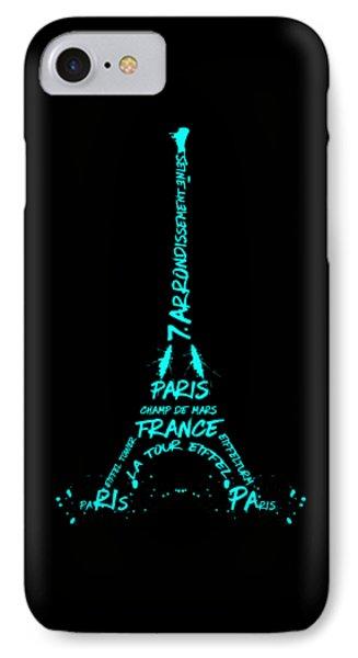 Digital-art Eiffel Tower Cyan IPhone Case