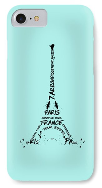 Digital-art Eiffel Tower Phone Case by Melanie Viola
