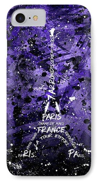Digital Art Eiffel Tower - Purple IPhone Case