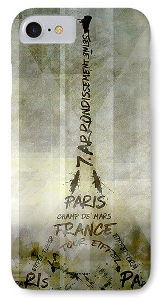 Digital-art Paris Eiffel Tower Geometric Mix No.1 IPhone Case by Melanie Viola
