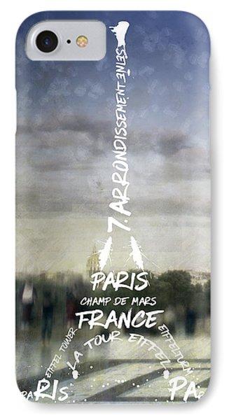 Digital-art Paris Eiffel Tower No.4 IPhone Case by Melanie Viola
