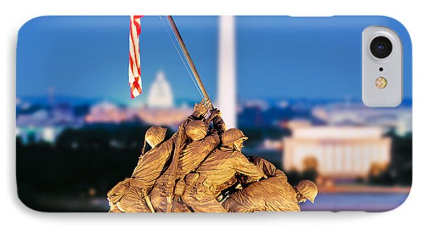 Digital Composite, Iwo Jima Memorial IPhone Case by Panoramic Images