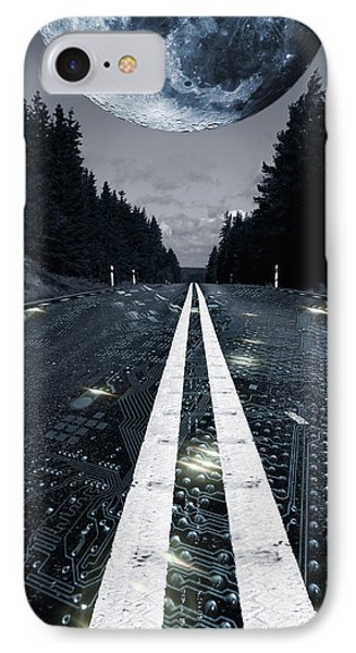 Digital Highway And A Full Moon IPhone Case by Christian Lagereek