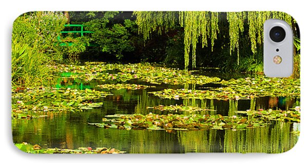 Digital Paining Of Monet's Water Garden  IPhone Case by MaryJane Armstrong