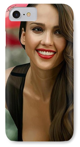 Digital Painting Of Jessica Alba IPhone 7 Case by Frohlich Regian