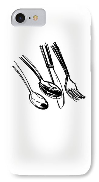 Diner Drawing Spoons, Knife, And Fork IPhone Case by Chad Glass