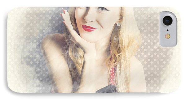 Diner Window Pin Up  IPhone Case by Jorgo Photography - Wall Art Gallery