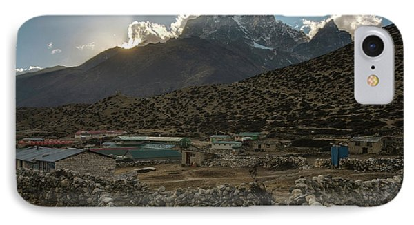 IPhone Case featuring the photograph Dingboche Evening Sunrays by Mike Reid