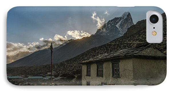 IPhone Case featuring the photograph Dingboche Nepal Sunrays by Mike Reid