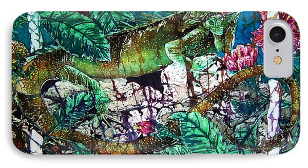 Dining At The Hibiscus Cafe - Iguana Phone Case by Sue Duda