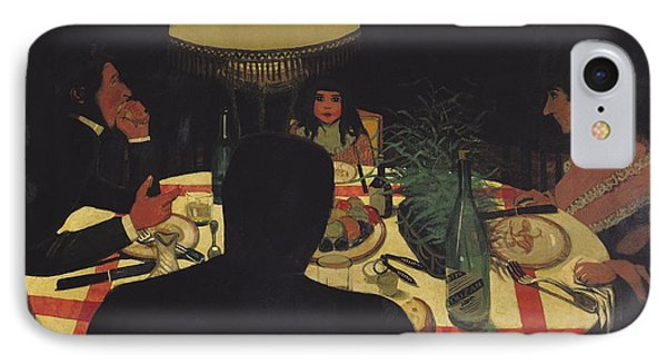 Dinner By Lamplight Phone Case by Felix Edouard Vallotton