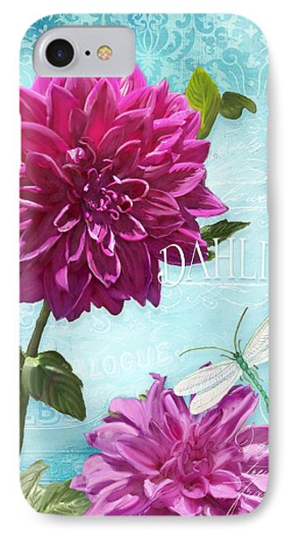 Dinnerplate Dahlia Flower W Dragonfly IPhone Case by Audrey Jeanne Roberts