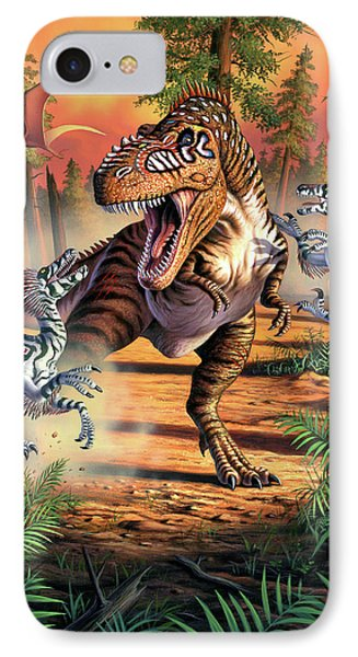 Dinosaur iPhone 7 Case - Dino Battle by Jerry LoFaro