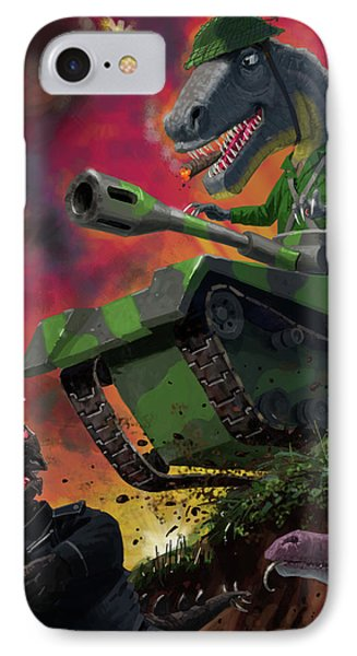 IPhone Case featuring the painting Dinosaur War 01 by Martin Davey