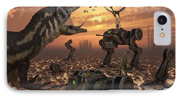 Dinosaurs And Robots Fight A War Phone Case by Mark Stevenson