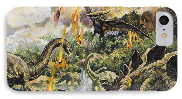 Dinosaurs And Volcanoes Phone Case by English School