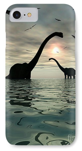 Diplodocus Dinosaurs Bathe In A Large Phone Case by Mark Stevenson