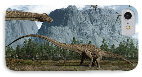 Diplodocus Dinosaurs Graze While Phone Case by Walter Myers