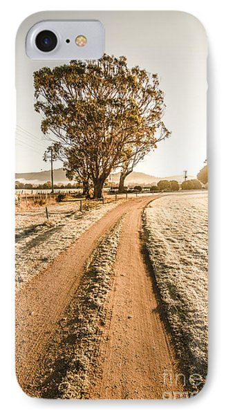 Dirt Frosted Country Road In Winter IPhone Case