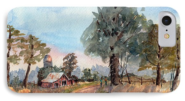 Dirt Road Farm - Watercolor IPhone Case by Barry Jones