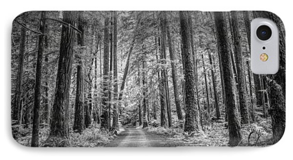 Dirt Road Through A Rain Forest In Black And White IPhone Case by Randall Nyhof