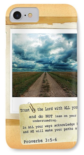 Dirt Road With Scripture Verse Phone Case by Jill Battaglia
