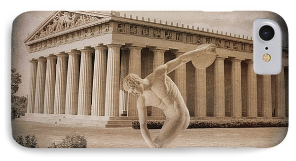 Disc Thrower In Front Of Parthenon 2 IPhone Case by Garland Johnson