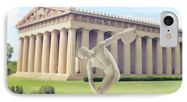 Disc Thrower In Front Of The Parthenon IPhone Case by Garland Johnson